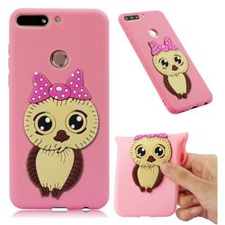 Bowknot Girl Owl Soft 3D Silicone Case for Huawei Honor 7C - Pink