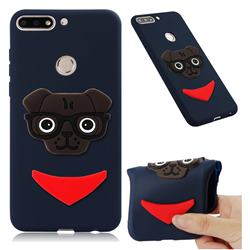 Glasses Dog Soft 3D Silicone Case for Huawei Honor 7C - Navy
