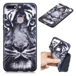 White Tiger 3D Embossed Relief Black TPU Cell Phone Back Cover for Huawei Honor 7C