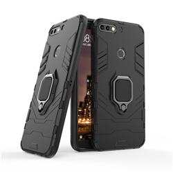 Black Panther Armor Metal Ring Grip Shockproof Dual Layer Rugged Hard Cover for Huawei Honor 7C - Black