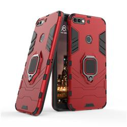 Black Panther Armor Metal Ring Grip Shockproof Dual Layer Rugged Hard Cover for Huawei Honor 7C - Red