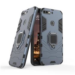 Black Panther Armor Metal Ring Grip Shockproof Dual Layer Rugged Hard Cover for Huawei Honor 7C - Blue