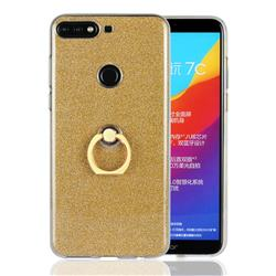 Luxury Soft TPU Glitter Back Ring Cover with 360 Rotate Finger Holder Buckle for Huawei Honor 7C - Golden