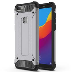 King Kong Armor Premium Shockproof Dual Layer Rugged Hard Cover for Huawei Honor 7C - Silver Grey