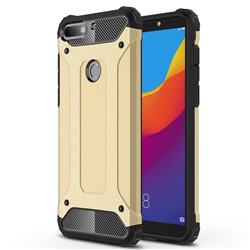 King Kong Armor Premium Shockproof Dual Layer Rugged Hard Cover for Huawei Honor 7C - Champagne Gold
