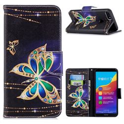 Golden Shining Butterfly Leather Wallet Case for Huawei Honor 7C