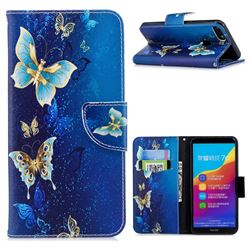 Golden Butterflies Leather Wallet Case for Huawei Honor 7C