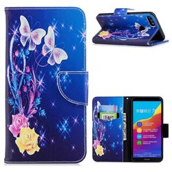 Yellow Flower Butterfly Leather Wallet Case for Huawei Honor 7C