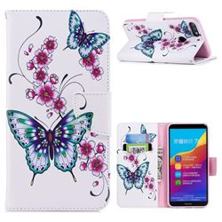 Peach Butterflies Leather Wallet Case for Huawei Honor 7C
