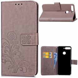 Embossing Imprint Four-Leaf Clover Leather Wallet Case for Huawei Honor 7C - Grey