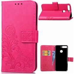 Embossing Imprint Four-Leaf Clover Leather Wallet Case for Huawei Honor 7C - Rose