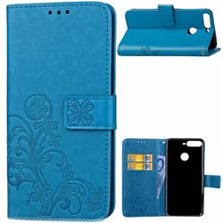 Embossing Imprint Four-Leaf Clover Leather Wallet Case for Huawei Honor 7C - Blue