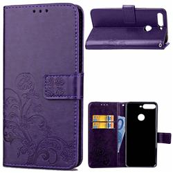 Embossing Imprint Four-Leaf Clover Leather Wallet Case for Huawei Honor 7C - Purple
