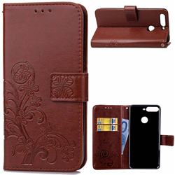 Embossing Imprint Four-Leaf Clover Leather Wallet Case for Huawei Honor 7C - Brown