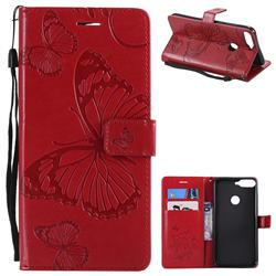 Embossing 3D Butterfly Leather Wallet Case for Huawei Honor 7C - Red