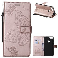 Embossing 3D Butterfly Leather Wallet Case for Huawei Honor 7C - Rose Gold