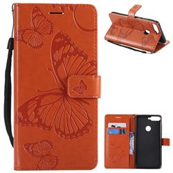 Embossing 3D Butterfly Leather Wallet Case for Huawei Honor 7C - Orange