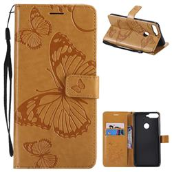 Embossing 3D Butterfly Leather Wallet Case for Huawei Honor 7C - Yellow