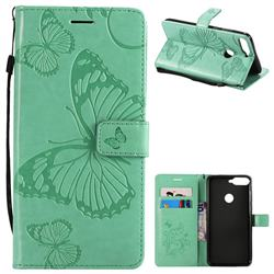 Embossing 3D Butterfly Leather Wallet Case for Huawei Honor 7C - Green