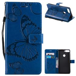 Embossing 3D Butterfly Leather Wallet Case for Huawei Honor 7C - Blue