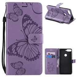 Embossing 3D Butterfly Leather Wallet Case for Huawei Honor 7C - Purple