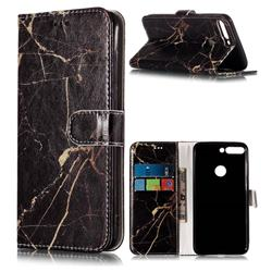 Black Gold Marble PU Leather Wallet Case for Huawei Honor 7C