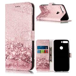 Glittering Rose Gold PU Leather Wallet Case for Huawei Honor 7C
