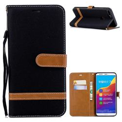 Jeans Cowboy Denim Leather Wallet Case for Huawei Honor 7C - Black