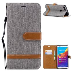 Jeans Cowboy Denim Leather Wallet Case for Huawei Honor 7C - Gray