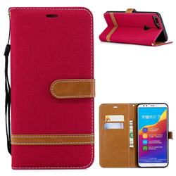 Jeans Cowboy Denim Leather Wallet Case for Huawei Honor 7C - Red