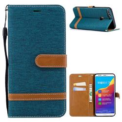 Jeans Cowboy Denim Leather Wallet Case for Huawei Honor 7C - Green
