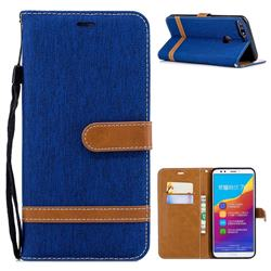 Jeans Cowboy Denim Leather Wallet Case for Huawei Honor 7C - Sapphire