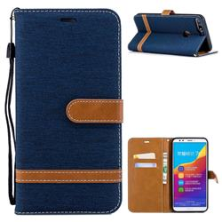 Jeans Cowboy Denim Leather Wallet Case for Huawei Honor 7C - Dark Blue