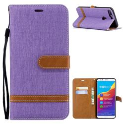 Jeans Cowboy Denim Leather Wallet Case for Huawei Honor 7C - Purple