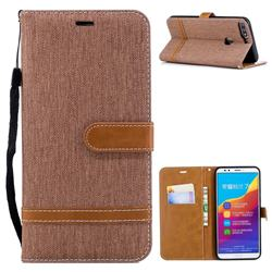 Jeans Cowboy Denim Leather Wallet Case for Huawei Honor 7C - Brown