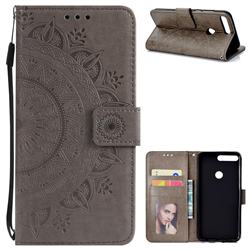 Intricate Embossing Datura Leather Wallet Case for Huawei Honor 7C - Gray