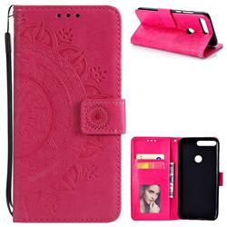 Intricate Embossing Datura Leather Wallet Case for Huawei Honor 7C - Rose Red