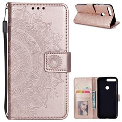 Intricate Embossing Datura Leather Wallet Case for Huawei Honor 7C - Rose Gold