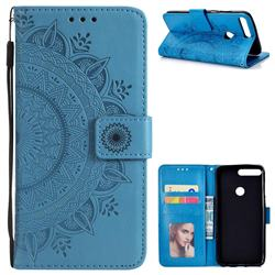Intricate Embossing Datura Leather Wallet Case for Huawei Honor 7C - Blue