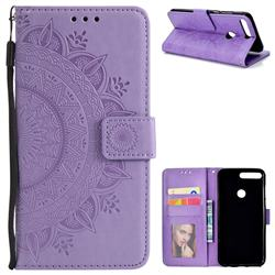 Intricate Embossing Datura Leather Wallet Case for Huawei Honor 7C - Purple