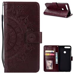 Intricate Embossing Datura Leather Wallet Case for Huawei Honor 7C - Brown