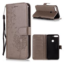 Intricate Embossing Dandelion Butterfly Leather Wallet Case for Huawei Honor 7C - Gray