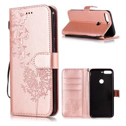 Intricate Embossing Dandelion Butterfly Leather Wallet Case for Huawei Honor 7C - Rose Gold