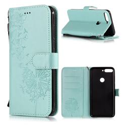 Intricate Embossing Dandelion Butterfly Leather Wallet Case for Huawei Honor 7C - Green