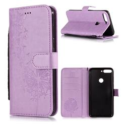 Intricate Embossing Dandelion Butterfly Leather Wallet Case for Huawei Honor 7C - Purple