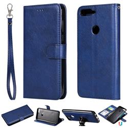 Retro Greek Detachable Magnetic PU Leather Wallet Phone Case for Huawei Honor 7C - Blue