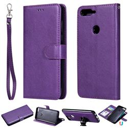Retro Greek Detachable Magnetic PU Leather Wallet Phone Case for Huawei Honor 7C - Purple