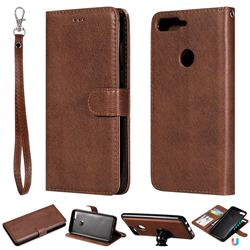 Retro Greek Detachable Magnetic PU Leather Wallet Phone Case for Huawei Honor 7C - Brown