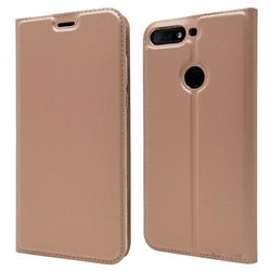 Ultra Slim Card Magnetic Automatic Suction Leather Wallet Case for Huawei Honor 7C - Rose Gold