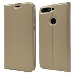 Ultra Slim Card Magnetic Automatic Suction Leather Wallet Case for Huawei Honor 7C - Champagne